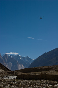 They flew in, then flew out again a couple of hours later.  Hopefully they weren't needed to carry trekkers in distress.