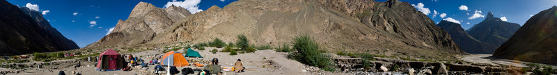 360-degree panorama of the camp site at Jula.  We came into the side-valley that housed the camp from the right, where this tributary runs into the Braldu, and the bridge is further to the left.
