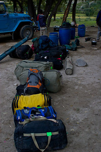 In the morning, we gather our luggage.  From here at Thungol, we will load up the jeeps and drive back to the break in the road, about an hour and a half.