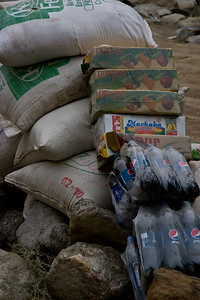 With the road cut off, there was a pile of supplies brought up from Skardu on the jeeps waiting on the other side of the break.