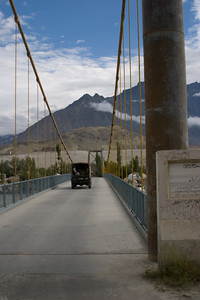 We wake up at 5am and shower for the last time before heading out to Askoli at 7am in 4 jeeps.  If all goes well, the drive should be 6-7 hours.  This is the first and most stable suspension bridge we encounter, taking us over the Indus River.