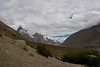 The view looking East up the valley from the camp at Paiju.  Our first view of the Baltoro Glacier is that little strip of gray rocks piled between the mountains.