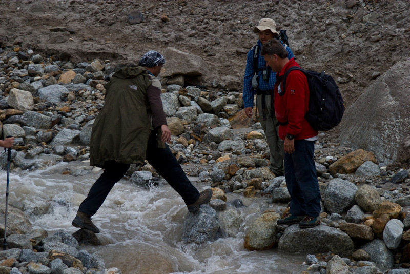 The next morning started a long 8 hour hike up to Khorbutse.  One small step for Adil...