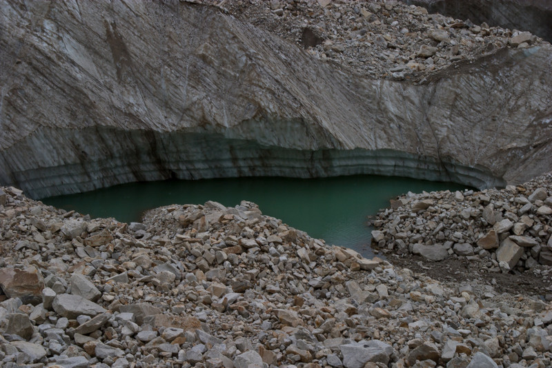 As we get further up the glacier, we started to see more and more bare ice, as well as glacial pools like this one.