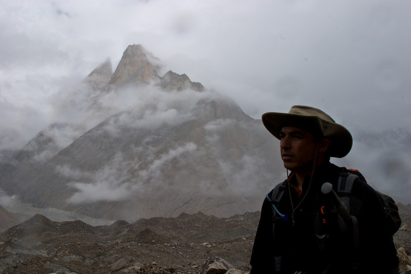 Dad taking a break with Lobsang Spire in the background.