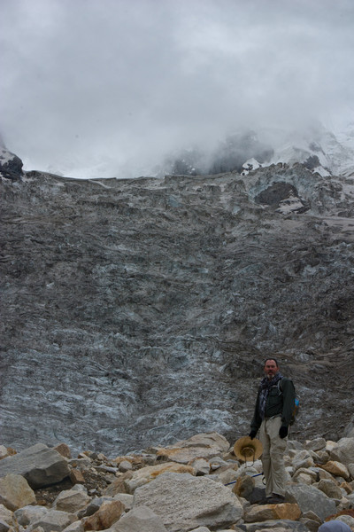 Matthew on the path in front of one of the smaller side glaciers that fed into Baltoro.