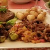 Filet, roasted brussel sprouts, medley of sauteed vegetables and salad. All prepared by Kait & James