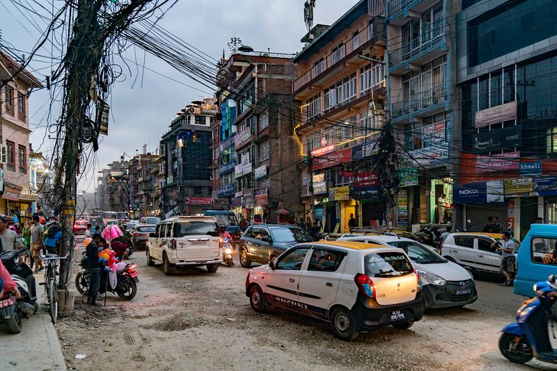 STREETS OF KATMANDU, NEPAL AT TWILIGHT.