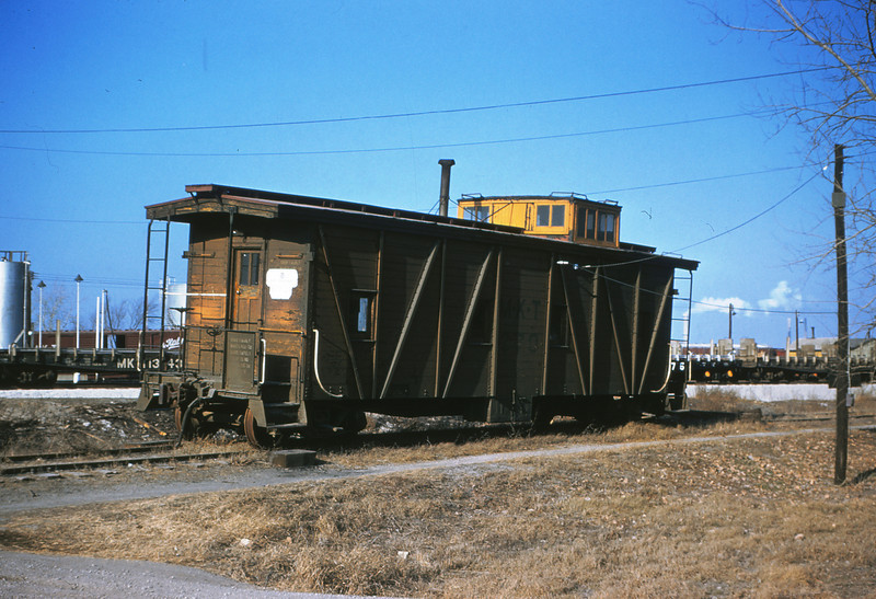 MK&T 3  Jan 2-1956  Caboose 370 used as piggyback office - Baden, Mo