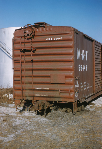 MK&T 5 - Jan 2 1956 - boxcar run off end of team track at Baden MO