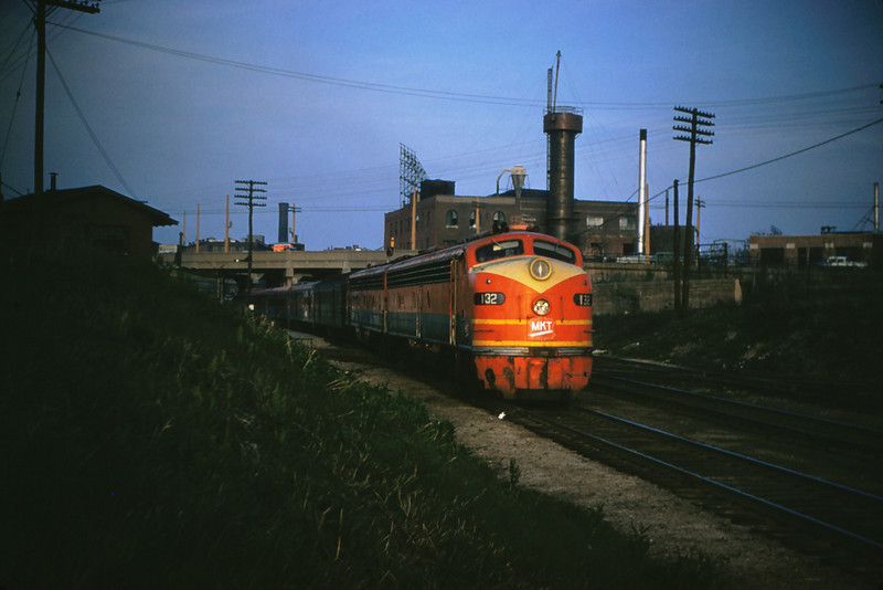 KATY 75 - Apr 26 1956 - Eng 132 on Texas Special west @ Tower Grove Station