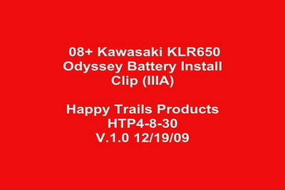 1. Begin here with the happy-trails.com Odyssey battery install ... This video clip corresponds to printed instruction section IIIA ...Odyssey battery/cable install left/clutch side of the bike.