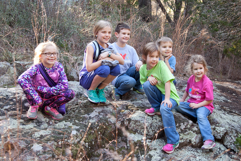 Lots and lots of children enjoyed spending time under the trees, in the woods, and climbing on rocks