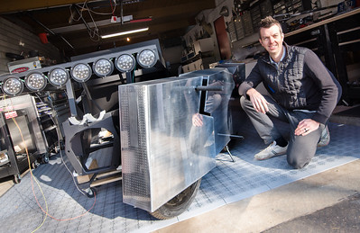 Joey Ruiter, KCAD Industrial Design Alumnus, with Moto Undone: his vehicle that takes the familiar to the unexpected, moto undone ignores what makes motorcycles interesting.