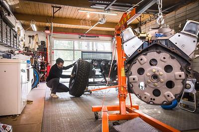 Joey Ruiter, KCAD Industrial Design alumnus, working on his Reboot Buggy in his studio.