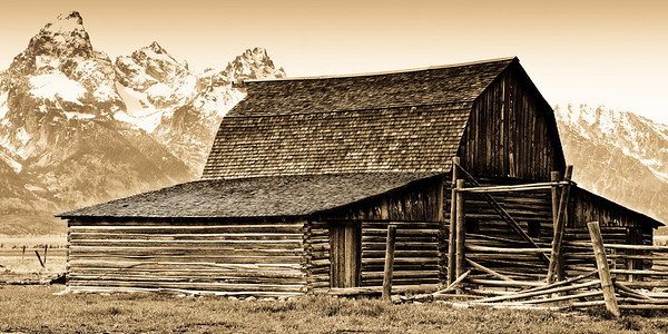 Old Time Barn and the Tetons