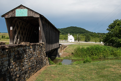 Goddard  White Covered Bridge with Goddard Methodist Church  in the distance