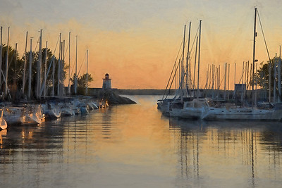 Lighthouse Landing Marina - Painterly Image