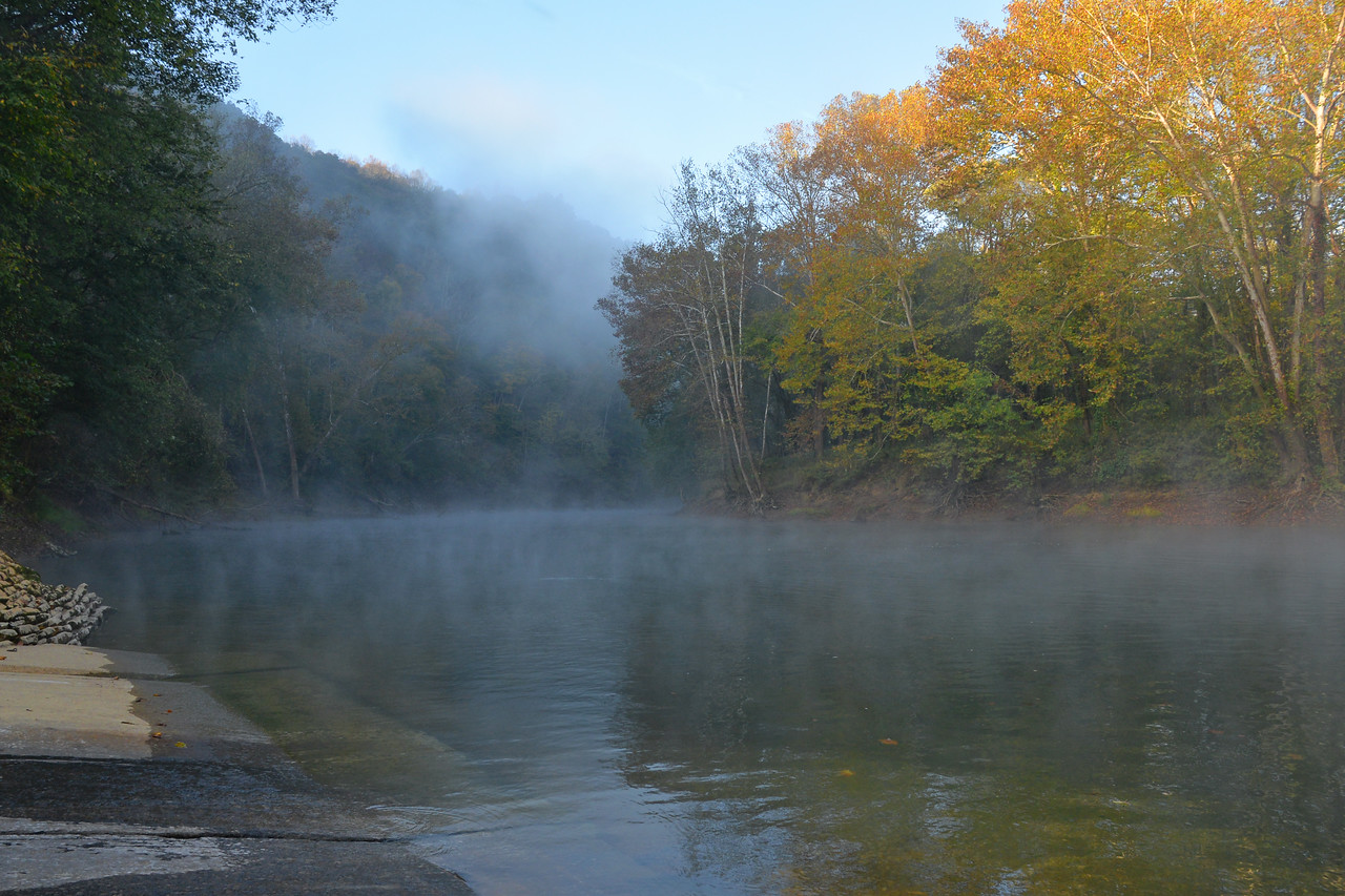 Early morning fog rising from Green River - Mammoth Cave National Park
