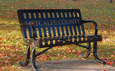Metcalfe County, KY - bench at Edmonton courthouse lawn