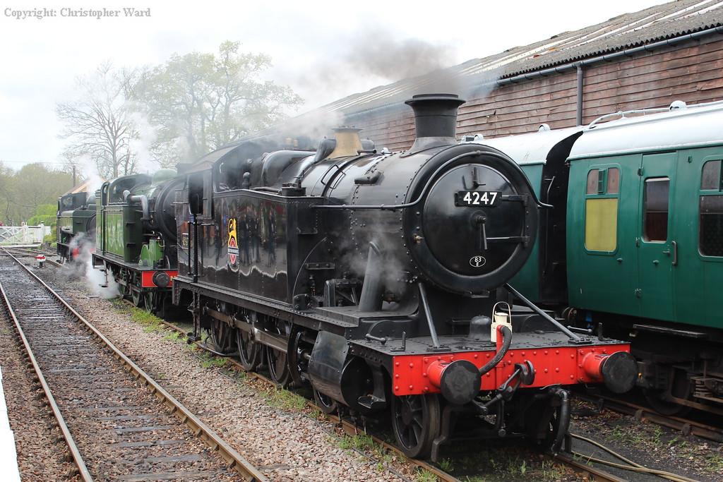 4247 heads an unlikely triple header in the loop at Tenterden