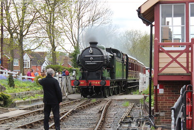 1744 storms up the bank into Tenterden station with the vintage carriages in tow