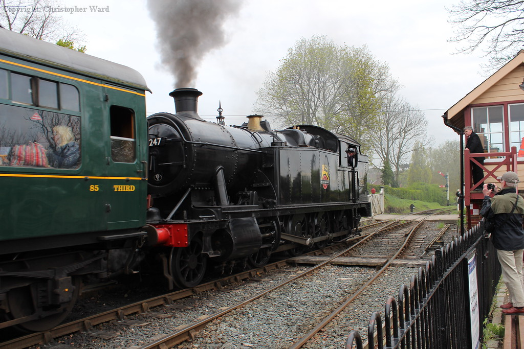 4247 draws out of Tenterden with another train