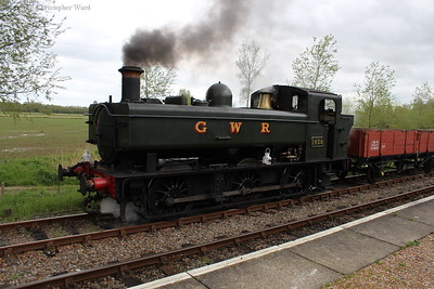 1638 prepares to take the goods train out for Tenterden