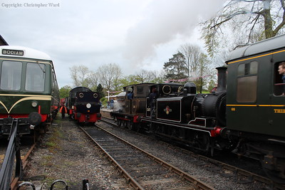 Busy times at Tenterden as four steam engines occupy the two through roads