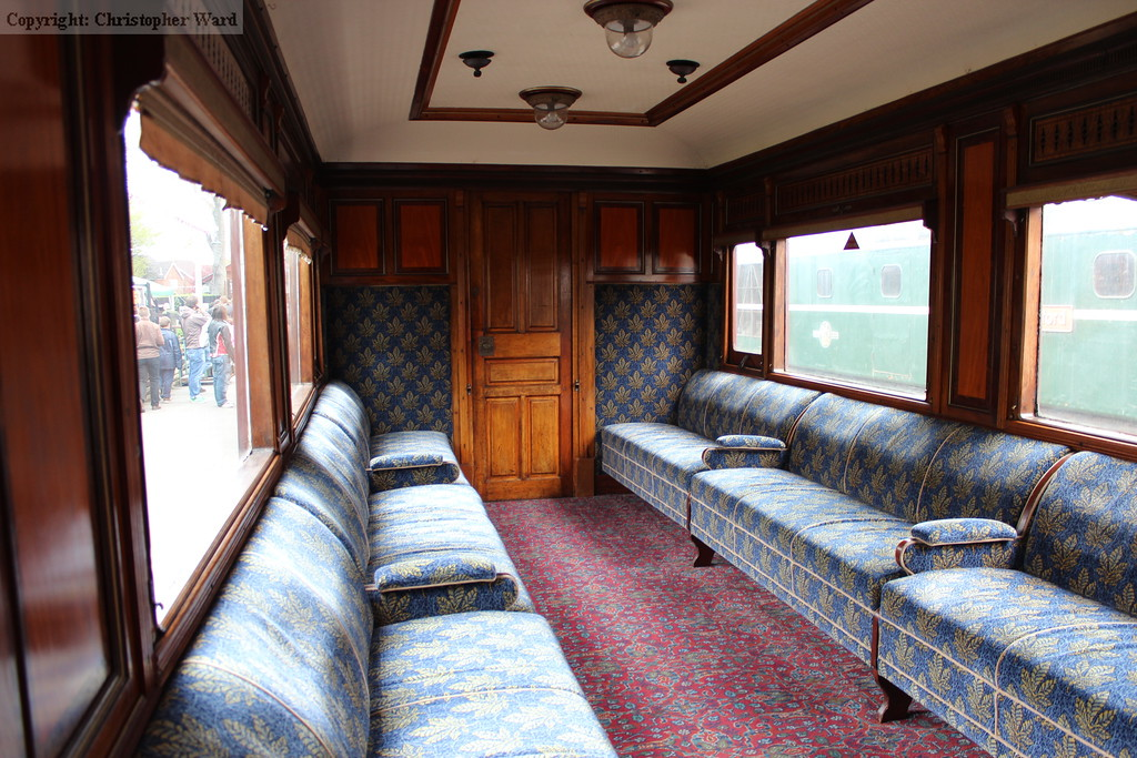 The plush interior of the first class saloon of SECR origin, wonderfully restored for the vintage train