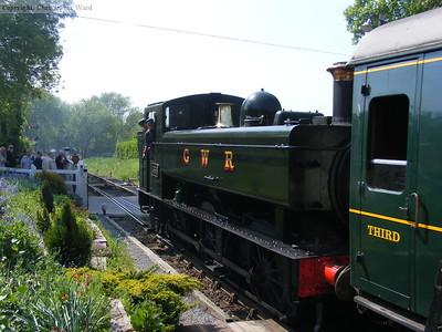 1638 banks the train into Tenterden