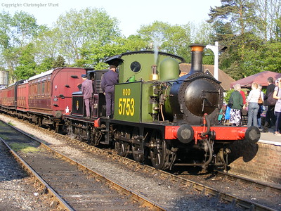 The vintage tank engines drop back onto the stock