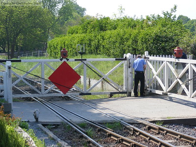 The manual crossing gates are shut at Tenterden