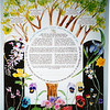"K 009 - The tree is made into a ""family"" tree - adding both families of bride and groom.  The Ketubah text is in a circle with the Shehecheyanu prayer as border: ""Blessed are You, Oh God, Sovereign of the Universe, for giving us life, sustaining us and enabling us to reach this day of joy"".  Colorful flowers complete the design."