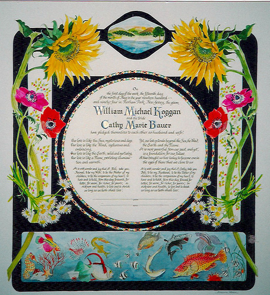 "K 005 - Bride and groom's names are highlighted.  This is not a typical ""Ketubah"" since groom was not Jewish, there is no Hebrew text.  Couple went on a scuba diving honeymoon - so they wanted fish."