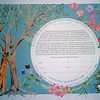KPC 05 -Paper cut Ketubah with added gouache paint on flowers.