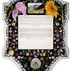 K 025 - Scenic picture of Colorado on top, couples' pets in circles, tree of life and small delicate flowers on black background in contrast to the bold sunflower and lilacs on top.
