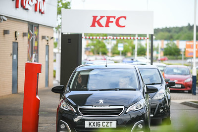 KFC queuing, Swansea, after drive-thru opening.