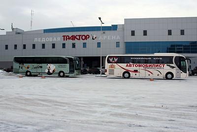 """Автобусы хоккейных команд """"Трактор"""" (Челябинск) и """"Автомобилист"""" (Екатеринбург)"""