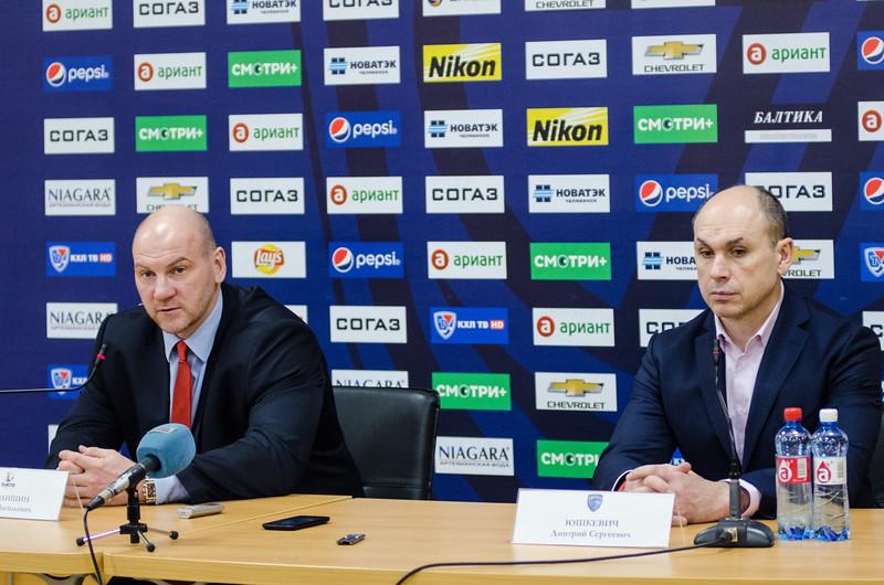 Главный тренер челябинского Трактора Андрей Николишин и главный тренер Югры Дмитрий Юшкевич прокомментировали матч, в котором Трактор выиграл со счётом 5:2.