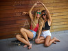 Best friends teen girls on skate having fun