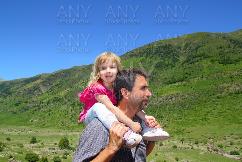 Explorer mountain little girl and father