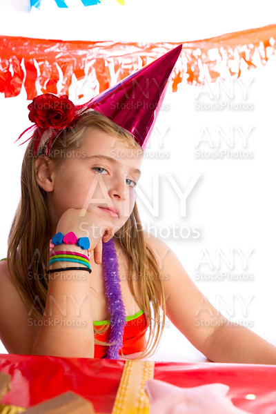 Bored gesture blond kid girl in party birthday hat