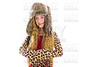 Blond winter kid girl long hair with fur clothes