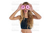 Teen girl holding donuts goggles on her eyes