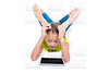 Flexible contortionist kid girl playing with tablet pc