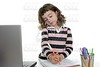 Drawing girl with marker on desk laptop