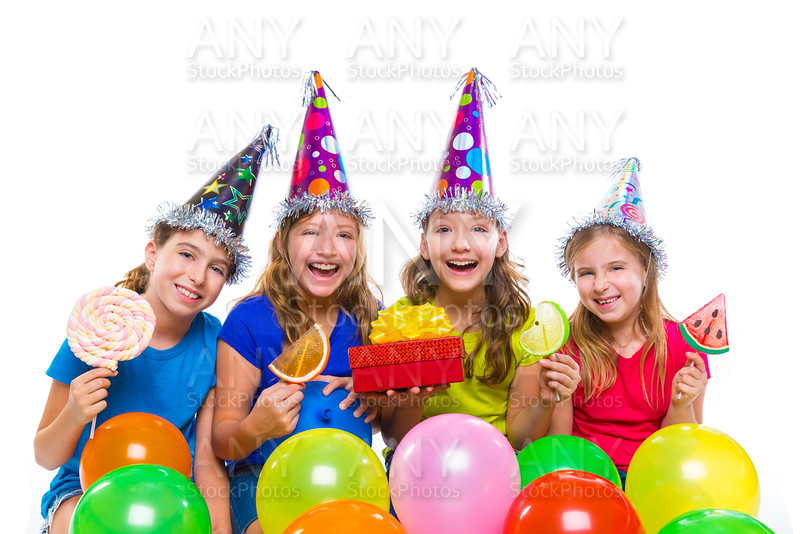 Happy kid girls birthday party balloons candy