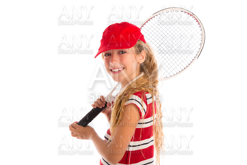 Blond tennis girl with pad and red cap smiling