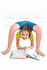 Flexible contortionist kid girl with homework book